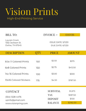 Black and Yellow Printing Service Invoice 청구서