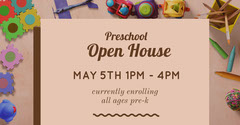 Pink Preschool Open House Promotion Preschool Flyer
