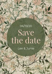 Green foliage Save The Date wedding Hochzeitseinladung