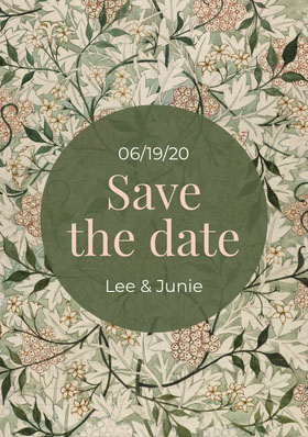 Green foliage Save The Date wedding Save the date-kort