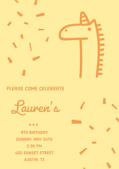 Yellow and Orange Birthday Party Invitation Card with Unicorn and Confetti Confetti