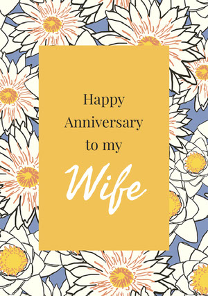 Orange and Flowered Pattern Anniversary Card Carte d'anniversaire de mariage