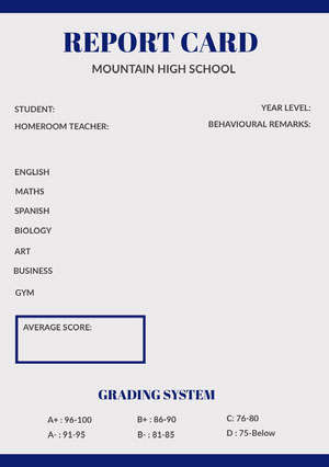 Blue and White Report Card  Report Card