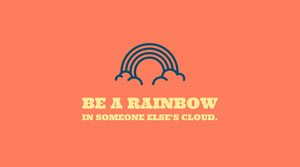 Orange Inspirational Social Media Graphic with Rainbow Icon Meme