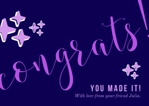 Pink and Purple Calligraphy Congratulations Card from Friend Biglietto di congratulazioni