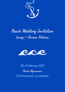 White and Blue Beach Wedding Invitation Bryllupskort