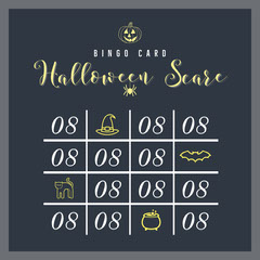 Yellow and Black Pumpkin Scare Halloween Party Bingo Card Halloween Party Bingo Card