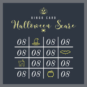 Yellow and Black Pumpkin Scare Halloween Party Bingo Card Carta da bingo
