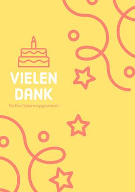 birthday confetti thank you cards Danksagungskarte