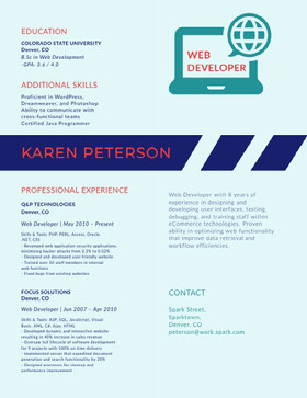 Blue and White Web Developer Resume Curriculum creativo