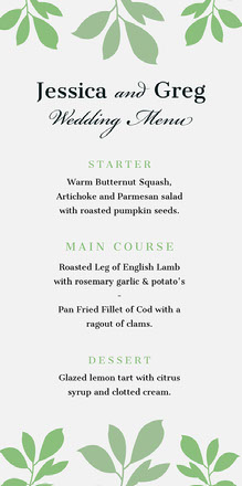 Green Leaves Wedding Menu Menu bruiloft