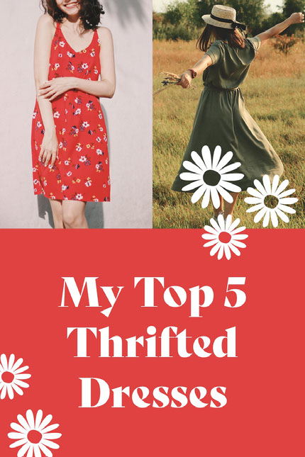 Top Thrifted Dresses Roundup Collage Marcador de Pin en Pinterest