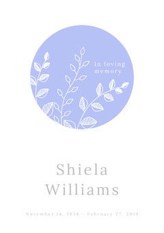 Blue Floral Funeral Invitation Card Rest in Peace