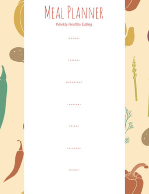 Orange and White Empty Meal Planner Menu de la semaine