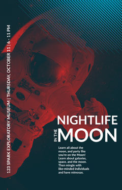 Red and Navy Blue Space Exploration Event Poster Moon