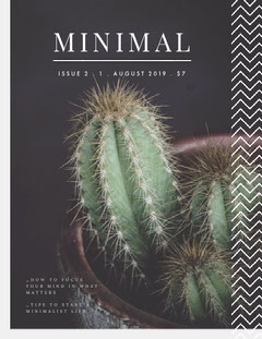 Green and White Minimalism Magazine Cover with Cactus Cactus