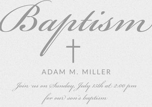 Elegant Gray Baptism Announcement and Invitation Card Invitation de baptême