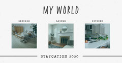 Grey & White My World Staycation 2020 Collage Facebook Vacation