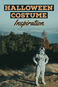 Orange & Blue Child in Halloween Costume Pinterest Post Dress