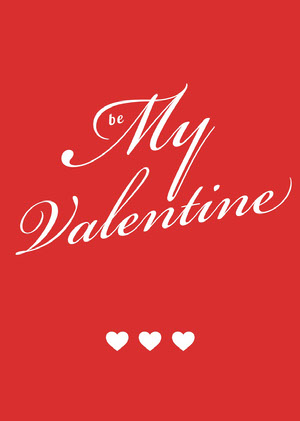White and Red Be My Valentine Card Cartão de dia dos namorados