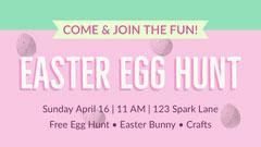 Pink, Green and White Pastel Color Easter Egg Hunt Facebook Banner Easter