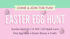 Pink, Green and White Pastel Color Easter Egg Hunt Facebook Banner Happy Easter Banner