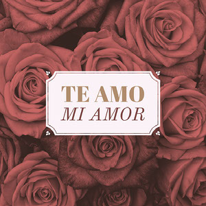 Red and White Spanish Love Square Instagram Graphic with Roses Tamaño de Imagen de Instagram