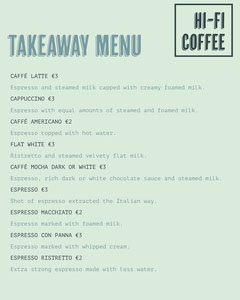 Mint Green Coffee Takeaway Menu Instagram Portrait Coffee Menu