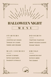 Beige and Gold, Light Toned, Halloween Party Menu Festa di Halloween