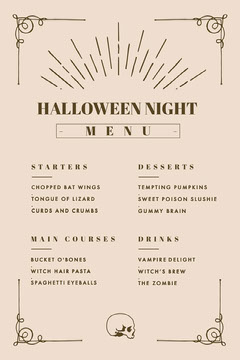 Beige and Gold, Light Toned, Halloween Party Menu Halloween Party Menu