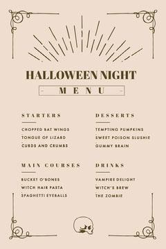 Halloween Night Party Menu Party