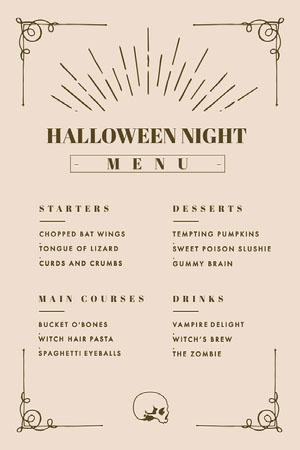 Beige and Gold, Light Toned, Halloween Party Menu Menú