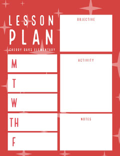 Red and White Lesson Plan Teacher