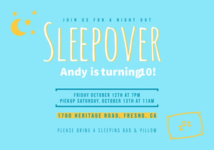 Blue Birthday Party Invitation Sleepover Invitation