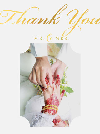 Grey and Gold Thank You Card Takkekort