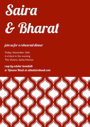 Red Elegant Rehearsal Dinner Invitation Card with Pattern Rehearsal Invitation