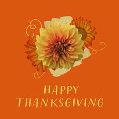Orange & Yellow Flower Collage Instagram Square  Thanksgiving