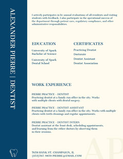 Blue Dentist Resume Dentist