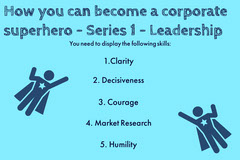 Blue Business Corporate Superhero How to Flashcard Guide