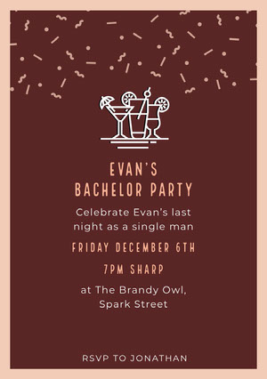 Brown and White Bachelorette Party Invitation Festinvitation