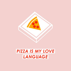 Pink Illustrated Funny Pizza Instagram Square Graphic  Pizza