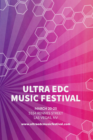 Pink and Blue Gradient Geometric Music Festival Pinterest Ad Poster Cartel de Festival de Música