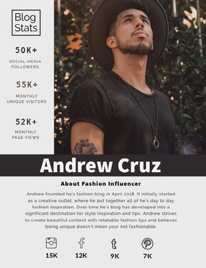 Fashion Influencer Media Kit with Photo of Man Kit per i media