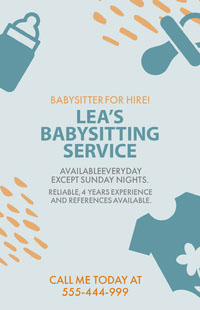 Blue and Yellow Babysitting Service Ad Poster 포스터