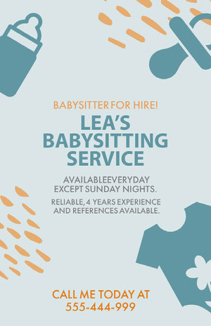Blue and Yellow Babysitting Service Ad Poster Babysitting Flyer