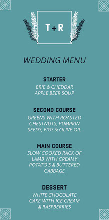 Teal Floral Wedding Menu Menu bruiloft