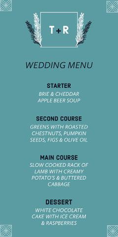 floral square frame wedding menu Frame