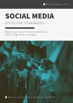 Grey and Green Social Media Strategies White Paper Cover A4 Social Media Flyer