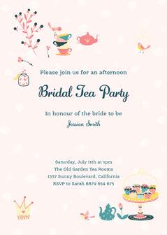Pink Polka Dots Afternoon Tea Bridal Invite Instagram Portrait  Tea Time