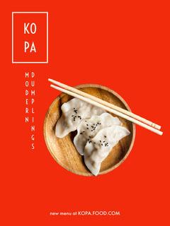 Red Asian Restaurant Flyer with Dumplings Restaurants
